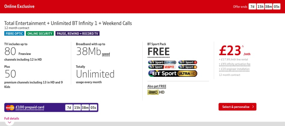 Entertainment Plus, Unlimited BT Infinity 1, Weekend Calls'
