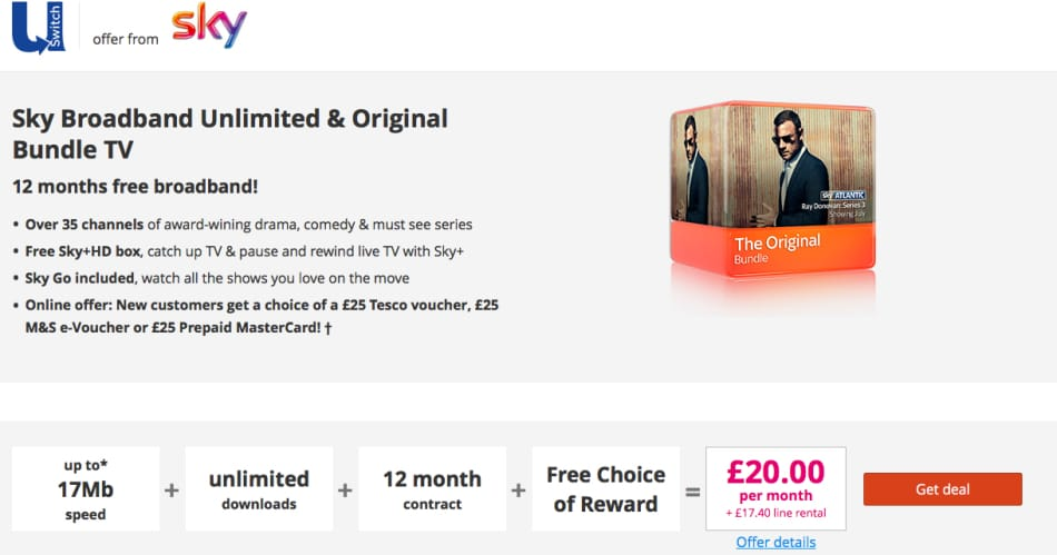 Sky Broadband Unlimited & Original Bundle TV